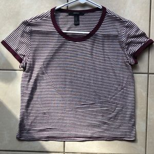 Forever 21 Burgundy and White Tee
